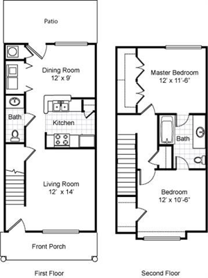 Two Bedroom / One and 1/2 Bath - Townhome - 945 Sq.Ft.*