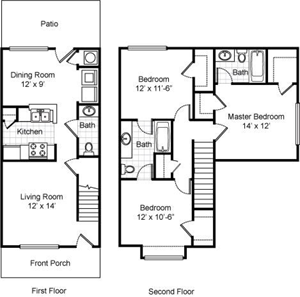 Three Bedroom / Two and 1/2 Bath - Townhome - 1,208 Sq.Ft.*